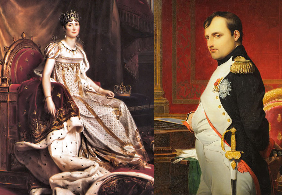 (Left) Portrait of Empress Josephine, circa 1808 by Francois Gérard (Right) Portrait of Emperor Napoleon by Hippolyte Delaroche