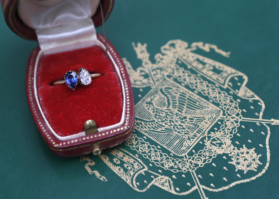 Napoleon Bonaparte gave this diamond and sapphire engagement ring to Josephine de Beauharnais in 1796. The ring fetched $948,000 at auction on March 24, 2013. (Patrick Kovarik/AFP/Getty Images)