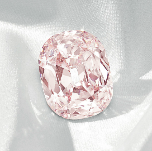 The largest fancy-intense pink diamond of Golconda origin to be offered at auction, the 34.65-carat Princie diamond • Image: Christie's