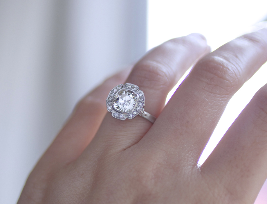 rika Winters Designs Caroline Halo Engagement Ring