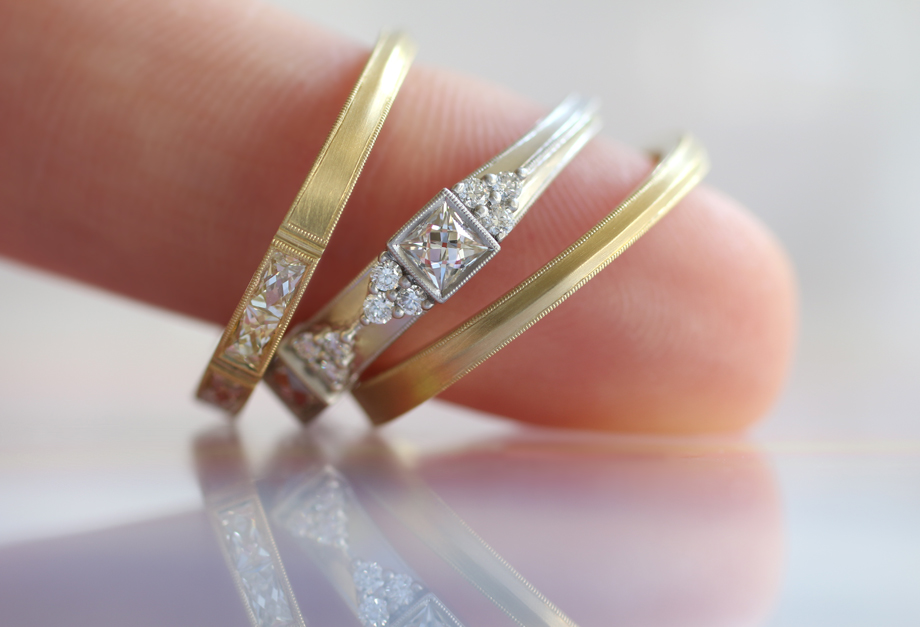 Details and finish: left to right: Isabella, Cordelia, and Eleanor in 18k yellow gold and platinum. Some of the French cut styles taper in the back with a delicate knife edge.