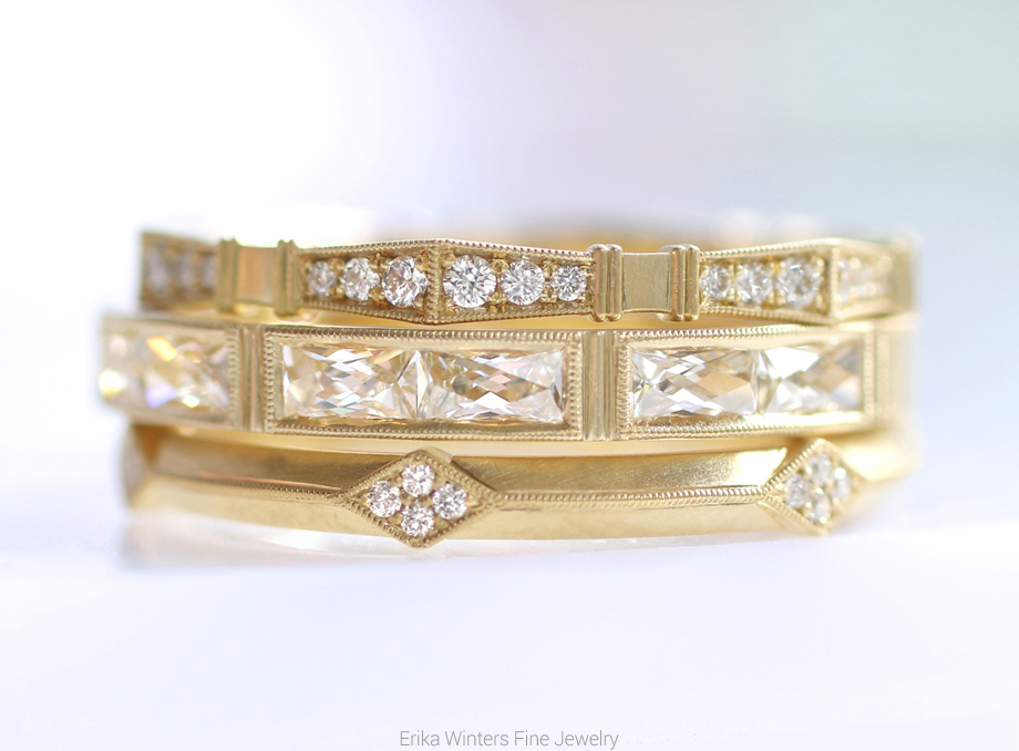 Erika Winters Fine Jewelry Imogen, Isabella, and Lily diamond wedding bands in 18k yellow gold