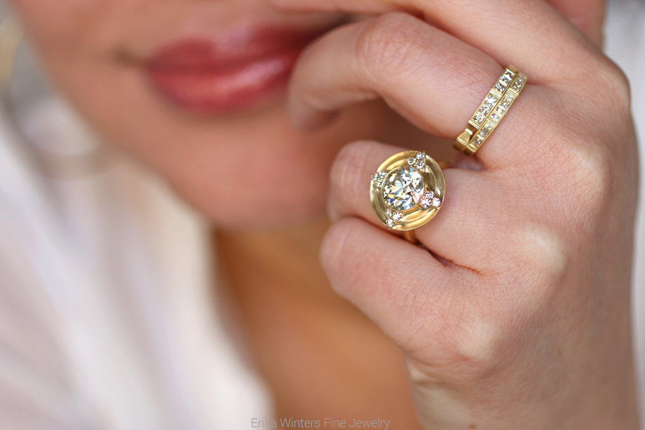 Erika Winters Fine Jewelry Thea halo engagement ring set with an old European cut diamond with the Eleanor and Isabella bands
