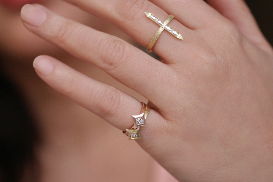 Erika Winters Fine Jewelry - Estella Star Pinky Rings and Bar Ring
