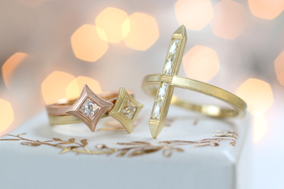 Erika Winters Fine Jewelry Estella Star Pinky Rings and Bar Rings