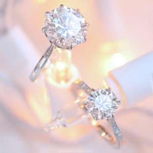 Margot and Cathedral Grace Solitaire engagement rings